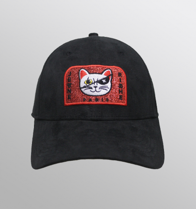 Caps Suede black Chinatown Cat Glossy