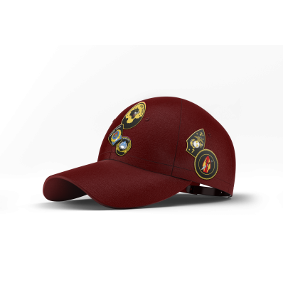 Baseball Cap Multipatchs Burgundy Suede